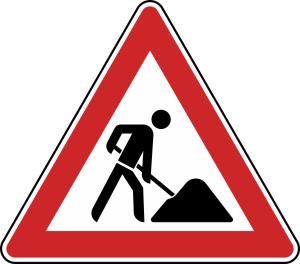 Verkehrszeichen StVO, Arbeitsstelle Nr. 123 (Seitenl&auml;nge/Folie/Form:  <b>630mm</b>/RA1/Flachform 2mm (Art.Nr.: 123-111))