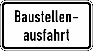 Verkehrszeichen StVO, Baustellenausfahrt Nr. 1007-33 (Ma&szlig;e/Folie/Form:  <b>231x420mm</b>/RA1/Flachform 2mm (Art.Nr.: 1007-33-111))