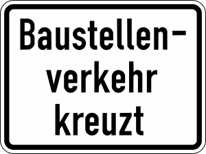 Verkehrszeichen StVO, Baustellenverkehr kreuzt Nr. 2132 (Ma&szlig;e/Folie/Form:  <b>315x420mm</b>/RA1/Flachform 2mm (Art.Nr.: 2132-111))