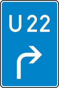 Verkehrszeichen StVO, Bedarfsumleitung, Vorank&uuml;ndigung rechts Nr. 460-20 (Ma&szlig;e/Folie/Form:  <b>630x420mm</b>/RA1/Flachform 2mm (Art.Nr.: 460-20-111))