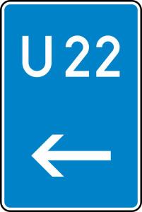 Verkehrszeichen StVO, Bedarfsumleitung, hier links Nr. 460-11 (Ma&szlig;e/Folie/Form:  <b>630x420mm</b>/RA1/Flachform 2mm (Art.Nr.: 460-11-111))