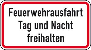 Verkehrszeichen StVO, Feuerwehrausfahrt Tag und Nacht freihalten (Maße (B x H): 420 x 231 mm (Art.Nr.: 53.6056))