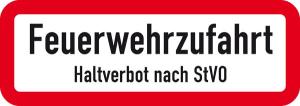 Verkehrszeichen StVO, Feuerwehrzufahrt, Haltverbot nach StVO (Abmessungen (B x H): 420 x 148 mm (Art.Nr.: 53.6131))