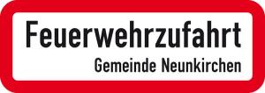 Verkehrszeichen StVO, Feuerwehrzufahrt, Ort / Gemeinde nach Wunsch (Abmessungen (B x H): 420 x 148 mm (Art.Nr.: 53.5777))