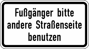 Verkehrszeichen StVO, Fu&szlig;g&auml;nger bitte andere Stra&szlig;enseite benutzen Nr. 2140 (Ma&szlig;e/Folie/Form:  <b>231x420mm</b>/RA1/Flachform 2mm (Art.Nr.: 2140-111))