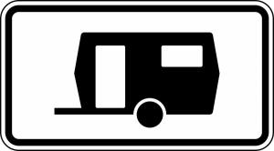 Verkehrszeichen StVO, Kennzeichnung von Parkfl&auml;chen f&uuml;r Wohnwagen l&auml;nger als 14 Tage, Nr. 1010-13 (Ma&szlig;e/Folie/Form:  <b>231x420mm</b>/RA1/Flachform 2mm (Art.Nr.: 1010-13-111))