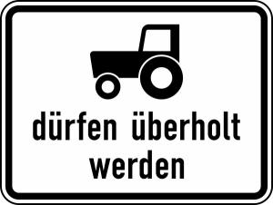Verkehrszeichen StVO, Kraftfahrzeuge und Z&uuml;ge bis 25 km / h d&uuml;rfen &uuml;berholt werden Nr. 1049-11 (Ma&szlig;e/Folie/Form:  <b>315x420mm</b>/RA1/Flachform 2mm (Art.Nr.: 1049-11-111))
