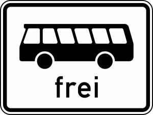 Verkehrszeichen StVO, Kraftomnibusse frei Nr. 1024-14 (Ma&szlig;e/Folie/Form:  <b>315x420mm</b>/RA1/Flachform 2mm (Art.Nr.: 1024-14-111))