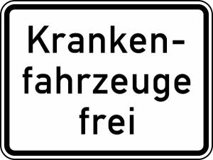 Verkehrszeichen StVO, Krankenfahrzeuge frei Nr. 1026-34 (Ma&szlig;e/Folie/Form:  <b>315x420mm</b>/RA1/Flachform 2mm (Art.Nr.: 1026-34-111))