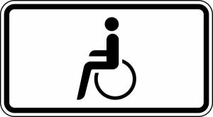 Verkehrszeichen StVO, Nur Schwerbehinderte mit au&szlig;ergew&ouml;hnlicher Gehbehinderung... - Nr. 1044-10 (Ma&szlig;e/Folie/Form:  <b>231x420mm</b>/RA1/Flachform 2mm (Art.Nr.: 1044-10-111))