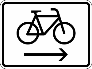 Verkehrszeichen StVO, Radfahrer Radweg rechts benutzen Nr. 2202 (Ma&szlig;e/Folie/Form:  <b>315x420mm</b>/RA1/Flachform 2mm (Art.Nr.: 2202-111))
