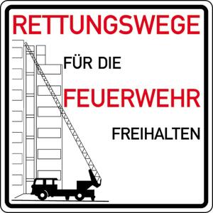 Verkehrszeichen StVO, Rettungsweg für die Feuerwehr freihalten (Ausführung: Verkehrszeichen StVO, Rettungsweg für die Feuerwehr freihalten (Art.Nr.: 53.6058))