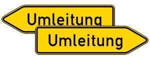 Verkehrszeichen StVO, Umleitungswegweiser, doppelseitig Nr. 454-40 (Folie/Form: RA1/Flachform 2mm (Art.Nr.: 454-40-111))