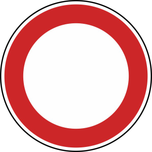 Verkehrszeichen StVO, Verbot f&uuml;r Fahrzeuge aller Art Nr. 250 (Durchmesser/Folie/Form:  <b>420mm</b>/RA1/Flachform 2mm (Art.Nr.: 250-111))