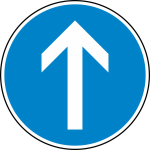 Verkehrszeichen StVO, Vorgeschriebene Fahrtrichtung geradeaus Nr. 209-30 (Durchmesser/Folie/Form:  <b>420mm</b>/RA1/Flachform 2mm (Art.Nr.: 209-30-111))