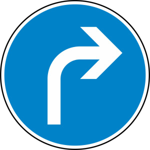 Verkehrszeichen StVO, Vorgeschriebene Fahrtrichtung rechts Nr. 209 (Durchmesser/Folie/Form:  <b>420mm</b>/RA1/Flachform 2mm (Art.Nr.: 209-111))