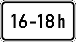Verkehrszeichen StVO, Zeitliche Beschr&auml;nkung (... - ... h) Nr. 1040-30 (Ma&szlig;e/Folie/Form:  <b>231x420mm</b>/RA1/Flachform 2mm (Art.Nr.: 1040-30-111))