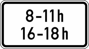 Verkehrszeichen StVO, Zeitliche Beschr&auml;nkung (... - ... h, ... - ... h) Nr. 1040-31 (Ma&szlig;e/Folie/Form:  <b>231x420mm</b>/RA1/Flachform 2mm (Art.Nr.: 1040-31-111))