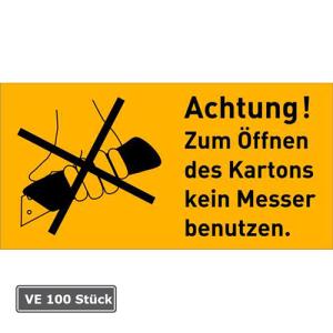 Verpackungsetiketten, VE 100 Stück, Folie, selbstklebend (Modell/Maße (BxH):  <b>Achtung! Zum Öffnen des...</b><br>100 x 50 mm (Art.Nr.: 21.d2501))