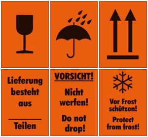 Verpackungsetiketten auf Rolle, 500 Stück (Aufschrift/Piktogramm: Vorsicht zerbrechlich (Art.Nr.: 32.3540-01))
