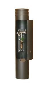 Versorgungspoller -Kirke- Ø 245 mm aus Stahl, zum Aufdübeln (Farbe: RAL 7035 lichtgrau (Art.Nr.: 25186))