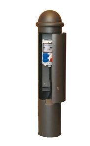 Versorgungspoller -Leda- Ø 245 mm aus Stahl, zum Aufdübeln (Farbe: RAL 3020 verkehrsrot (Art.Nr.: 25191))