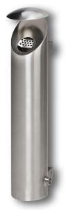 Wandascher -Cubo Ramon- 2,5 Liter aus Edelstahl, mit Schutzdach, Wand- und Pfostenbefestigung (Oberfläche: poliert (Art.Nr.: 33741))