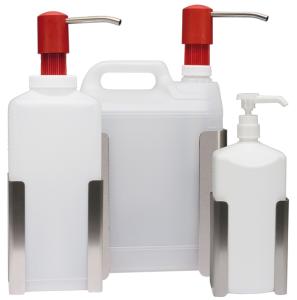 Wandhalterung aus Edelstahl für Flaschen und Kanister (Modell/Maße (BxH): für 1 Liter Flaschen / 95x120 mm (Art.Nr.: 29110))