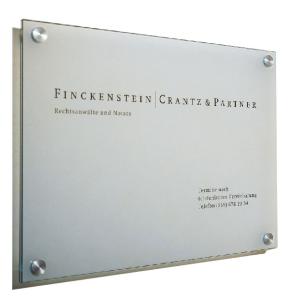 Wandschilder, Wegweiser -Cristallo- mit 1 Scheibe aus Sicherheitsglas, inkl. Edelstahlhalter (Modell/Maße (BxH)/Befestigung:  <b>Wandschild</b>/210x297mm<br>(A4)/4 Halter Ø 18mm (Art.Nr.: cr2920))