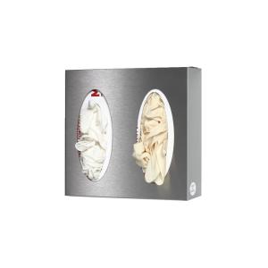 Wandspender für Handschuh- / Handtuchboxen aus Edelstahl, offen (Modell/Maße (HxBxT):  <b>1 Box</b> / 130x250x80 mm (Art.Nr.: 40358))