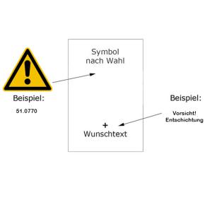 Warn-Kombischild zur individuellen Gestaltung (Maße (BxH): 131 x 185 mm (max. 20 Zeichen) (Art.Nr.: 51.0770))