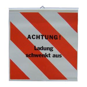 Warnflagge für Langholzfuhrwerke, Aufdruck -ACHTUNG! Ladung schwenkt aus-<br>500 x 500 mm (Ausführung: Warnflagge für Langholzfuhrwerke, Aufdruck -ACHTUNG! Ladung schwenkt aus-<br>500 x 500 mm (Art.Nr.: 38149))