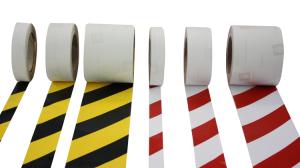 Warnmarkierungsband -Vertical-Safety-, Rolle 25m, für vertikale Flächen im Innen- u. Außenbereich (Breite/Farbe/Richtung:  <b>25 mm</b>/rot-weiß<br>linksweisend (Art.Nr.: 32995))