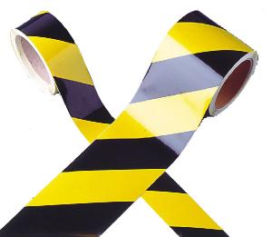Warnmarkierungsband gelb / schwarz, Länge 11 m, hochwertige Ausführung (Breite/Modell: 50mm,linksweisend (Art.Nr.: 21.0382))