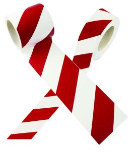 Warnmarkierungsband rot / weiß, Länge 16,5 m (Breite/Modell: 50mm,rechtsweisend (Art.Nr.: 35.1177))