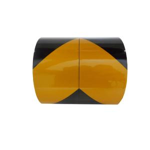 Warnmarkierungsfolie -Safety Wall- reflektierend (Breite/Rollen/Farbe:  <b>25 mm, gelb/schwarz</b><br>2 Rollen à 10 m<br>je 1 x links- u. rechtsweisend (Art.Nr.: 34852))
