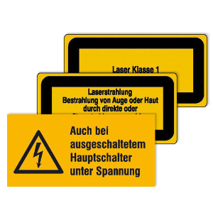Warnschild -Protect- selbstklebend (Piktogramm/Text: Auch bei ausgeschaltetem Hauptschalter unter Spannung (Art.Nr.: 39.0035-01))