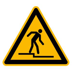 Warnschild, Warnung vor Abwärtsstufe (Maße (SL) / Material: 100 mm / Folie (PVC), selbstklebend (Art.Nr.: 21.a0704))