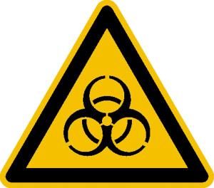 Warnschild, Warnung vor Biogefährdung (Maße (SL) / Material: 15 mm / Folie, 114er-Bogen (Art.Nr.: 30.0229))