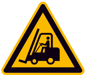 Warnschild, Warnung vor Flurförderzeugen (Maße (SL) / Alu, geprägt / Folie, selbstklebend: 100 mm / Folie, selbstklebend (Art.Nr.: 21.a8230))
