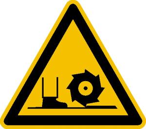 Warnschild, Warnung vor Fräswelle (Maße (SL) / Material: 50 mm / Folie, 10er-Bogen (Art.Nr.: 30.0844))
