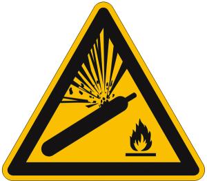 Warnschild, Warnung vor Gasflaschen (Maße (SL) / Material: 100 mm / Alu, geprägt (Art.Nr.: 11.a8150))