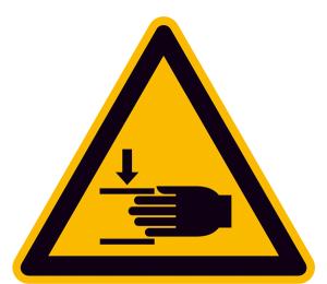Warnschild, Warnung vor Handverletzungen (Maße (SL)/Material/Variante: 25 mm / Folie, 44er-Bogen (Art.Nr.: 30.0371))