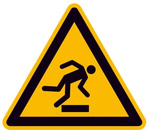 Warnschild, Warnung vor Hindernissen am Boden (Maße (SL) / Material: 100 mm / Alu, geprägt (Art.Nr.: 11.a8180))