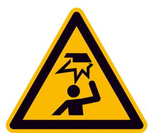 Warnschild, Warnung vor Hindernissen im Kopfbereich (Maße (SL)/Material: 100 mm/Folie,selbstklebend (Art.Nr.: 21.a8210))