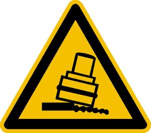 Warnschild, Warnung vor Kippgefahr beim Walzen (Ausführung: Warnschild, Warnung vor Kippgefahr beim Walzen (Art.Nr.: 21.0322))