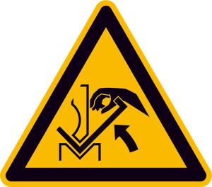 Warnschild, Warnung vor Quetschgefahr der Hand zwischen Presse und Werkstück (Ausführung: Warnschild, Warnung vor Quetschgefahr der Hand zwischen Presse und Werkstück (Art.Nr.: 21.a8305))