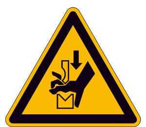 Warnschild, Warnung vor Quetschgefahr der Hand zwischen den Werkzeugen einer Presse (Ausführung: Warnschild, Warnung vor Quetschgefahr der Hand zwischen den Werkzeugen einer Presse (Art.Nr.: 30.a8250))