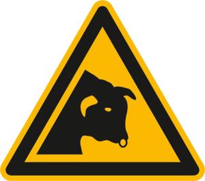 Warnschild, Warnung vor Stier (Ausführung: Warnschild, Warnung vor Stier (Art.Nr.: 11.a8270))