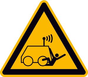 Warnschild, Warnung vor Überrollen durch ferngesteuerte Maschine (Ausführung: Warnschild, Warnung vor Überrollen durch ferngesteuerte Maschine (Art.Nr.: 21.a8290))